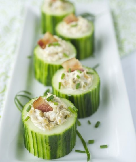 Cucumber Cups with Caramelized Onion and Bacon